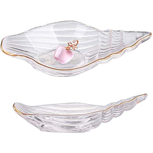 Kelendle Clear Dessert Plate Glass Salad Bowls Decorative Ocean Conch Jewelry Tray Ring Dish Ring Holder Golden Tray for Salad Fruit Vegetable Biscuit Wedding Valentine's Day Gift (Conch bowl)