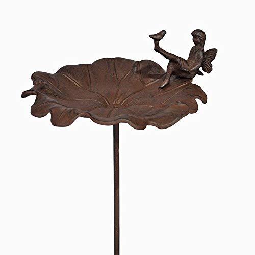 L'Héritier Du Temps Grand Trellis voor vogels of tuinspies, motief engel fee klokje van gietijzer gepatineerd bruin 28 x 33 x 114 cm