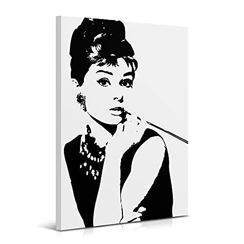 Cuadro Audrey Hepburn 60 x 90 cm, Blanco y Negro, Decoración Moderna para Salón y Dormitorio, Lienzo 100% Poliéster, Bastidor de Madera, Impresión HD, LEN-136