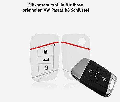 Wagners Hülle für VW Passat B8 - CC, Golf, Tiguan, Typ 3G 3-Tasten Autoschlüssel - Silikon Schlüsselschutz - Etui für Keyless - Go MK8 (Weiss/rot)