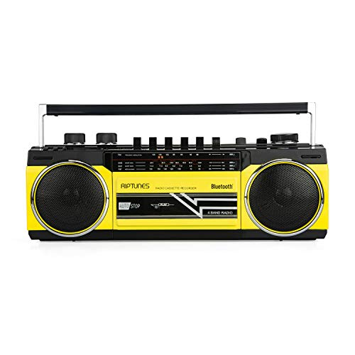 Riptunes Cassette Boombox, Retro Blueooth Boombox, Cassette Player and Recorder, AM/FM/ SW-1-SW2 Radio-4-Band Radio, USB, and SD, Yellow