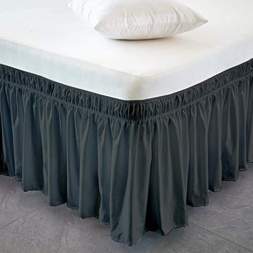 EASY ON EASY OFF Bed Valance 100% Cotton WRAP AROUND Bed Skirt Adjustable Fit with 40cm or 16 inch drop (Single, Dark Grey)
