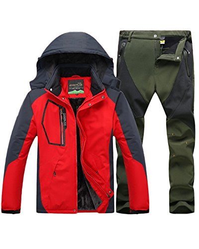 Qitun Hombre de Trekking Impermeable Deportivos Transpirable Pantalones Chaqueta de Esquí Impermeable Chaqueta de Nieve Excursionismo Conjunto Rojo A XXXL