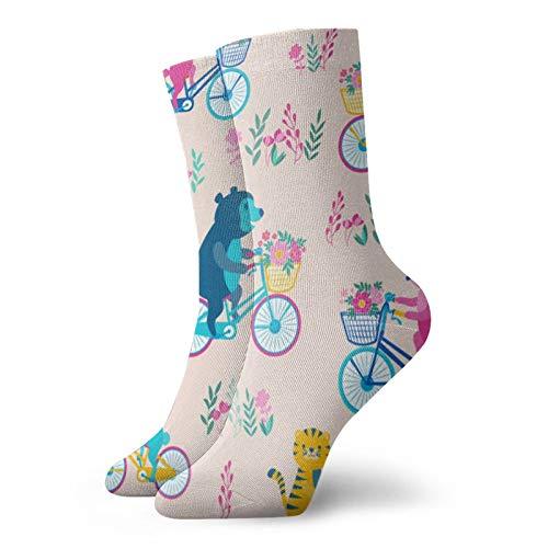 print-animal-bicycle-pink Deporte Calcetines de Compresión Comodidad Crew Calcetines Hombres Y Mujeres De...