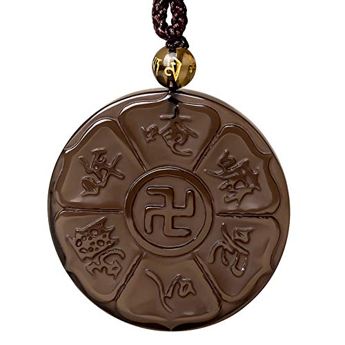 WXMYOZR Colgante De Obsidiana Buda Mantra Colgante Budista Om Mani Padme Hum Mantra Colgante Collar Religioso Redondo Versículo Bíblico Joyería De Oración