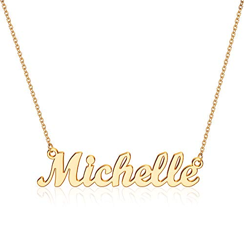 Michelle Name Necklace Personalized for Women, Word Necklaces Custom Jewelry for Michelle, 14K Gold Plated Nameplate Engraved Name Necklace for Women Girls Teens