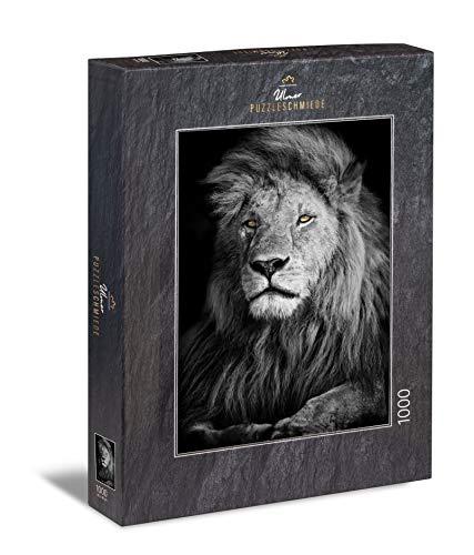 Ulmer Puzzleschmiede - Puzzle El León - Puzzle de 1000 Piezas - león poderoso sobre Fondo Negro