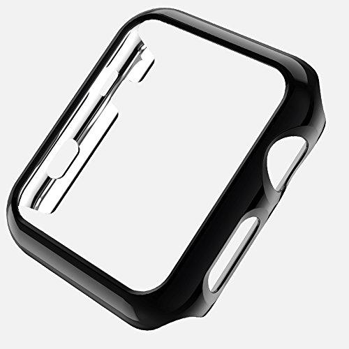PINHEN Custodia Compatibile con Apple Watch 42mm/38mm Series 3/2 - TPU PC Protettiva Rugged Armor Bumper per iWatch Apple Watch Series 3/ Series 2 38mm 42mm Cover Case (PC 38MM Black)