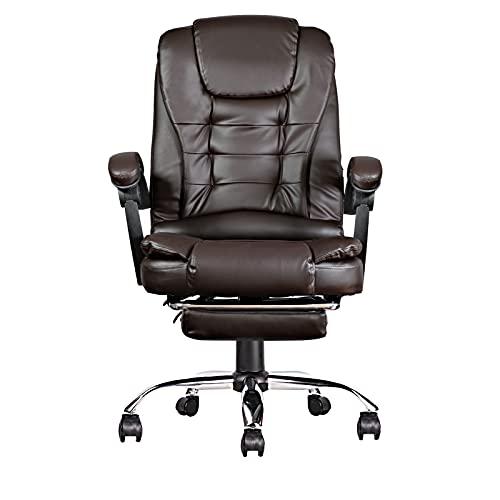 Gamingstuhl, Bürostuhl Mit Fußstütze, Schreibtischstuhl, Ergonomisches Design, Lendenstütze, Bis Zu 130 Kg Belastbar, Kaffeefarbe