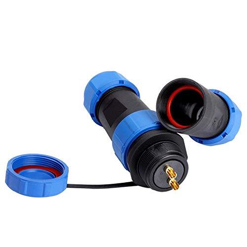 SP21 Stecker Buchse IP68 Wasserdichter Luftfahrtanschluss Kabelstecker Steckdose Kabel Inline-Anschluss für Außenleuchten usw(2pin)