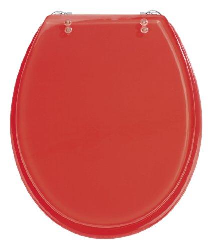 Wenko 18929100 WC-Sitz Tropic Red - verstellbare, rostfreie Edelstahlbefestigung, Polyresin, rot