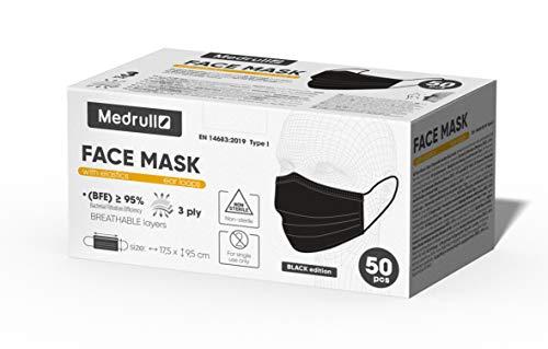 Medrull Masken Schwarze mundschutz (50 Stück), CE zertifiziert EN14683, medizinischer OP-maske zum , 3-lagig, mit elastischen Ohrschlaufen