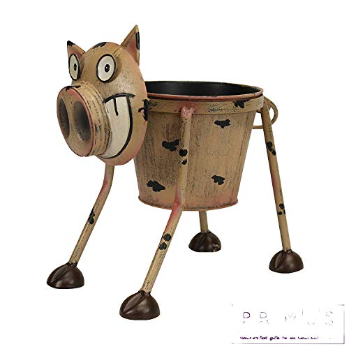 Primus® – Pot de fleurs insolite en métal en forme d'animal peint à la main pour l'intérieur...