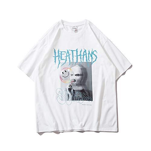 DREAMING-Sudadera De Manga Corta De Verano con Estampado De Alfabeto Camiseta De Algodón De Cuello Redondo con Estampado Suelto Top Camisa De Parejas para Hombres Y Mujeres White X-Large