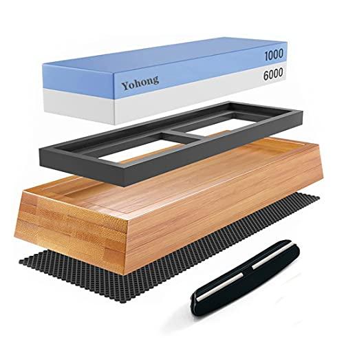 Yohong Doppelseitiger Schleifstein Abziehstein Wetzstein Messer Set, Schnelles Schärfen, Körnung 1000 6000 Professionell 2-in-1 Messerschärfer mit Rutschfesem Silikonhülle