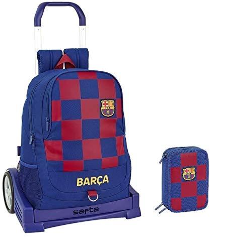 Mochila con ruedas del FC Barcelona para niño, 45 cm + estuche de 3 pisos completo + llavero silbato de regalo