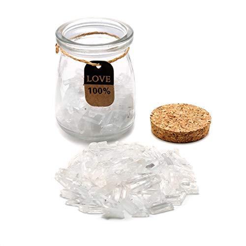 CrystalTears Bouteille de Vœu Verre Clair Bouchon de Bois avec 130-150g Energie Pierre Quartz Cristal de Roche Blanche Décoration Artisanat Table Chambre