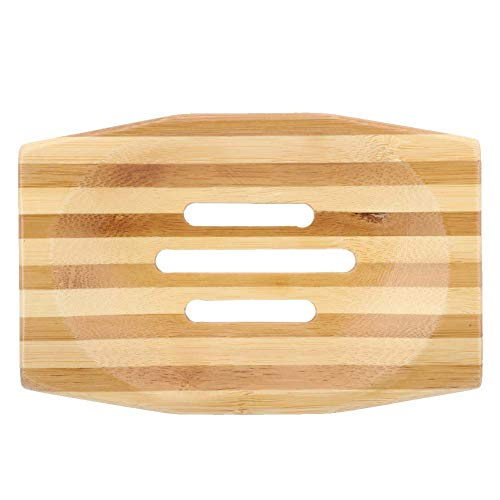Bamboo Soap Dishes Storage Holder Soap Saver Soap Box for Bathroom Shower Kitchen Mitening 2 PCS Natural Wooden Bamboo Soap Dish