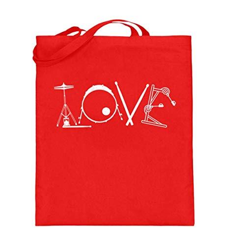 Love – Ideal para batería – Bolsa de yute (con asas largas), color, talla 38cm-42cm