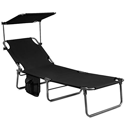 Homeura Adjustable Outdoor Beach Patio Pool Recliner with Sun Shade - Black