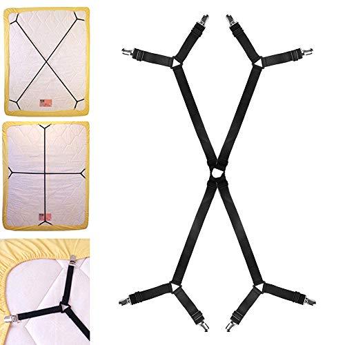 Librao Bettlakenspanner, verstellbare Greifer für Spannbetttuch, gekreuzte Bettlaken-Clips