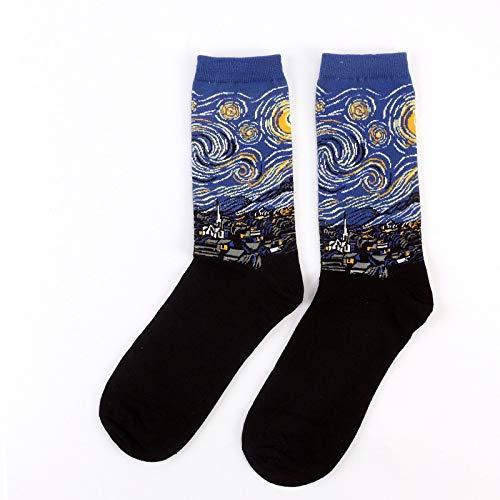 noche estrellada algodón divertido pintar Calcetines Mujeres Hombres occidental Mona Lisa pintura al óleo de la serie clásica de los pares calcetín calcetines respirables