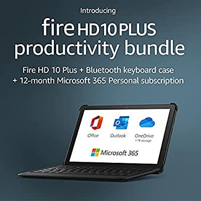 Introducing Fire HD 10 Plus tablet, 32 GB, Slate + Bluetooth keyboard + 12-month Microsoft 365 Personal subscription (auto-renews) by