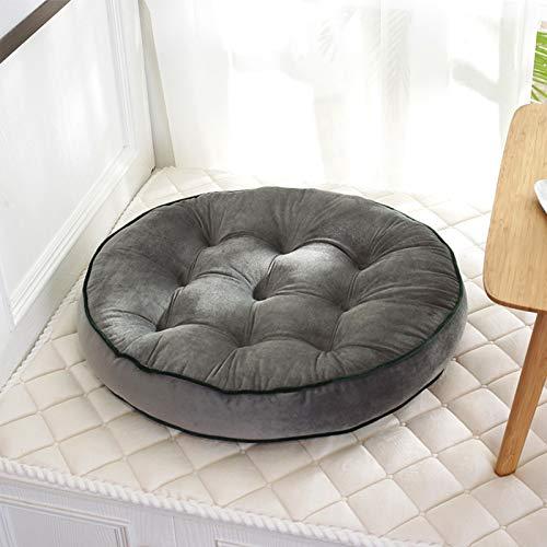 XQWZM Popular Dutch Velvet Seating Cushions,Futon Home Decorative Chair Pad,Thick Round Yoga Tatami Floor Cushion Pouf,For Sofa Bed-Grey. 58x58cm(23x23inch)