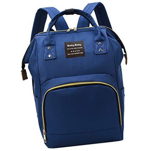 Baby Wickeltasche Wickelrucksack, Kinderwagen-Haken Tasche Rucksack mit 3 isolierten Taschen für Unterwegs, Große Kapazität - Dunkelblau