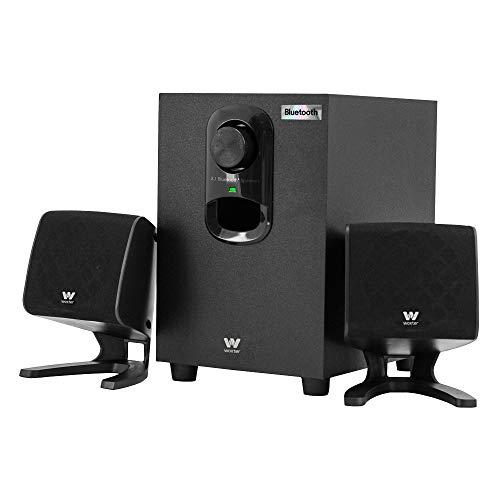 Woxter Big Bass 110r - Altavoces estéreo Bluetooth 2.1 con subwoofer de Madera, Bass réflex, 20W de Potencia y conexión estéreo RCA de 3,5mm. Ideal para PC/Smartphones y videoconsolas.