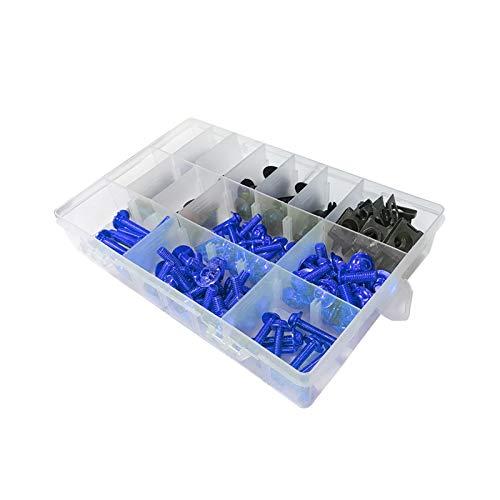MIAOXIAO Seedling Store Ajuste para Suzuki GSXR 600 750 1000 600 750 1000 K1 K2 K3 K4 K5 K6 K7 K8 K8 K9 195 / PCS Kit Universal Carne Bolt Kit Clips de Cierre Tornillos (Color Name : Blue)