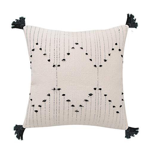 Mocofo - Funda de cojín lumbar geométrico tribal en blanco y negro, colección decorativa neutra con borla de algodón tejida, para el hogar, fiesta, coche, oficina y granja, 40,6 x 40,6 cm