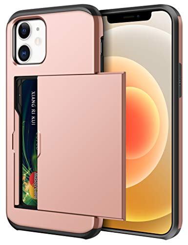 SAMONPOW for Wallet Case Compatible with iPhone 12 Case with Card Holder Dual Layer Hybrid Shell Shockproof Protection Cover Case Compatible with iPhone 12/12 Pro 6.1 inch Rose Gold
