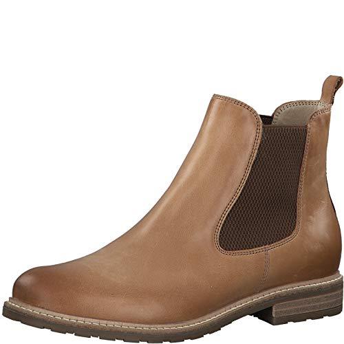 Tamaris Damen Stiefeletten 25056-34, Frauen Chelsea Boots, halbstiefel Schlupfstiefel hoch weibliche Lady Ladies feminin elegant,Camel,39 EU / 5.5 UK