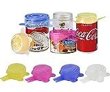 longzon Tapas Silicona Ajustables Cocina, 12 Piezas de Tapas de Silicona Reutilizables Ecológicas de 6.5cm, Tapas Silicona para Latas, Sin BPA, para Lavavajillas, Microondas, Refrigerador - Redonda