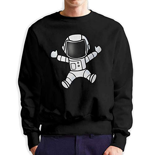 FUSHENDA Colby Keats Astronaut Trippy Space Crewneck Fleece Long Sleeve Sweater for Men Black