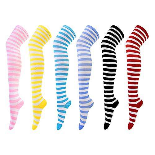 6 Pares Calcetines Hasta la Rodilla para Mujer Calcetines Largos Sobre la Rodilla Muslo Calcetines Altos Niña de Cosplay Casual