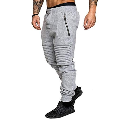 Pantalones de chándal para Hombre Pantalones de Ocio elásticos y Ajustados con Movimiento y Bolsillos con Cremallera sin Costuras Pantalones de chándal Transpirables para pies Large