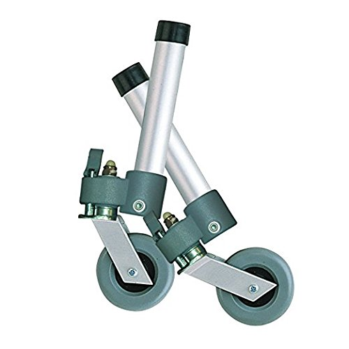 Drive Medical Locking Swivel Walker Wheels with Two Sets of Rear Glides, Gray