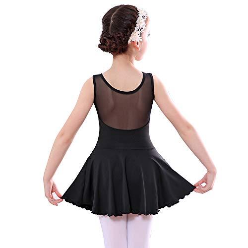 Bezioner Kinder Ballettkleid Ballett Trikot Mädchen Ballettanzug mit Tütü Rock Schwarz 140