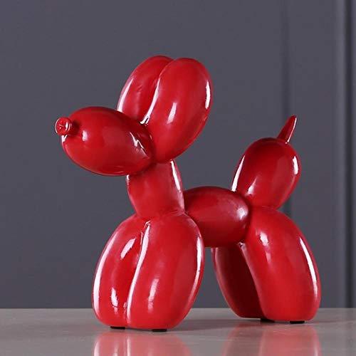 ximeima Estatuas Adornos Resina Globo Perro Artesanía Escultura - Rojo