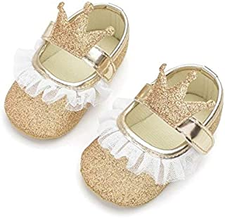 Baby Shoes Baby Girl Shoes Lace PU Leather Princess Newborn Baby Crown Shoes, Size:11cm(Gold) Baby Items (Color : Gold)