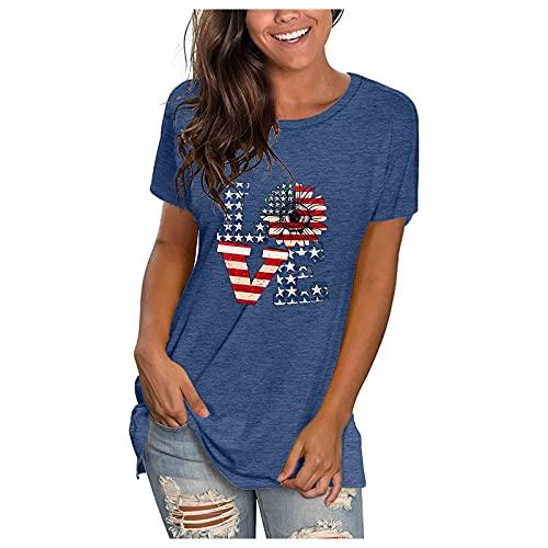 Lilygodx Camisetas Mujer Originales Baratas Blusas Mujer Verano Talla Grande Tops Mujer Verano Rebajas Elegantes Patrón de la Bandera Americana Moda Parejas Padel Retro Clásico (Azul, XL)