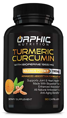 Turmeric Curcumin with Bioperine - Max Potency 1965mg Natural Supplement for Joint Support and Heart Health - Antioxidant and Anti-Aging Formula - Advanced Absorption - Anti Inflammatory - 90 Capsules