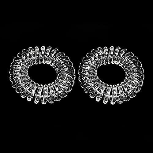 Ealicere 12 Stück Original Haargummi, Kunststoff Spirale Telefonkabel elastisch Haarband für Damen und Mädchen,Verwendbar als Armband(Crystal Clear)
