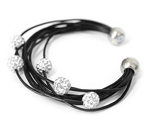 MyBeautyworld24 Damen Armband Shamballa Lederarmband Modeschmuck Modearmband Schmuck Accessoire Armbänder Magnetschließe mit 5 Strass Kugeln black von der Marke