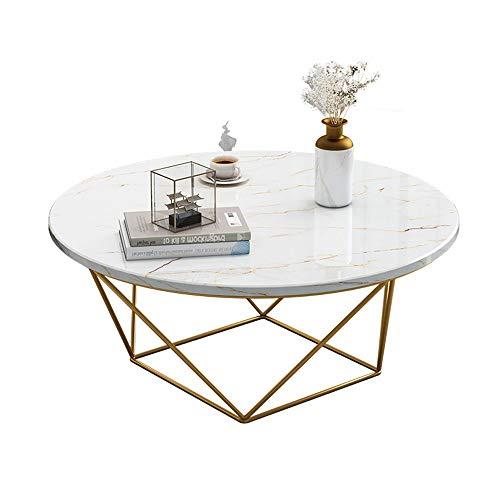 Mesa de Extremo Lateral Home Office Redondo Moderno café Mesa Decorativa con el Falso mármol de sobremesa y el Metal del Oro Traje de tramas de la Sala de Estar Mesa de Centro Moderna