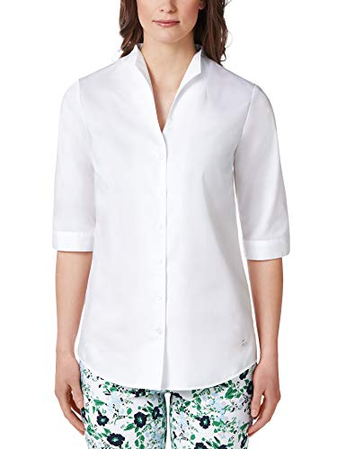 Walbusch Damen Bügelfrei Bluse Kelchkragen einfarbig Weiß 50 - Langarm