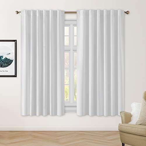 HOMEIDEAS Blackout Curtains 52 X 63 Inch Length Set of 2 Panels Greyish White Room Darkening Bedroom Curtains/Drapes, Thermal Insulated Pocket & Back Tab Window Curtains for Living Room