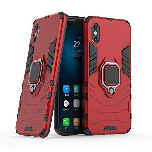 Cocomii Black Panther Armor Xiaomi Mi 8 Pro Funda Nuevo [Robusto] Táctico Anillo Metálico Sujeción Soporte [Funciona con El Montaje De Coche Magnético] Case Carcasa for Xiaomi Mi 8 Pro (B.Red)